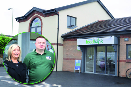Inset: man and woman, background, Foyle Foodbank