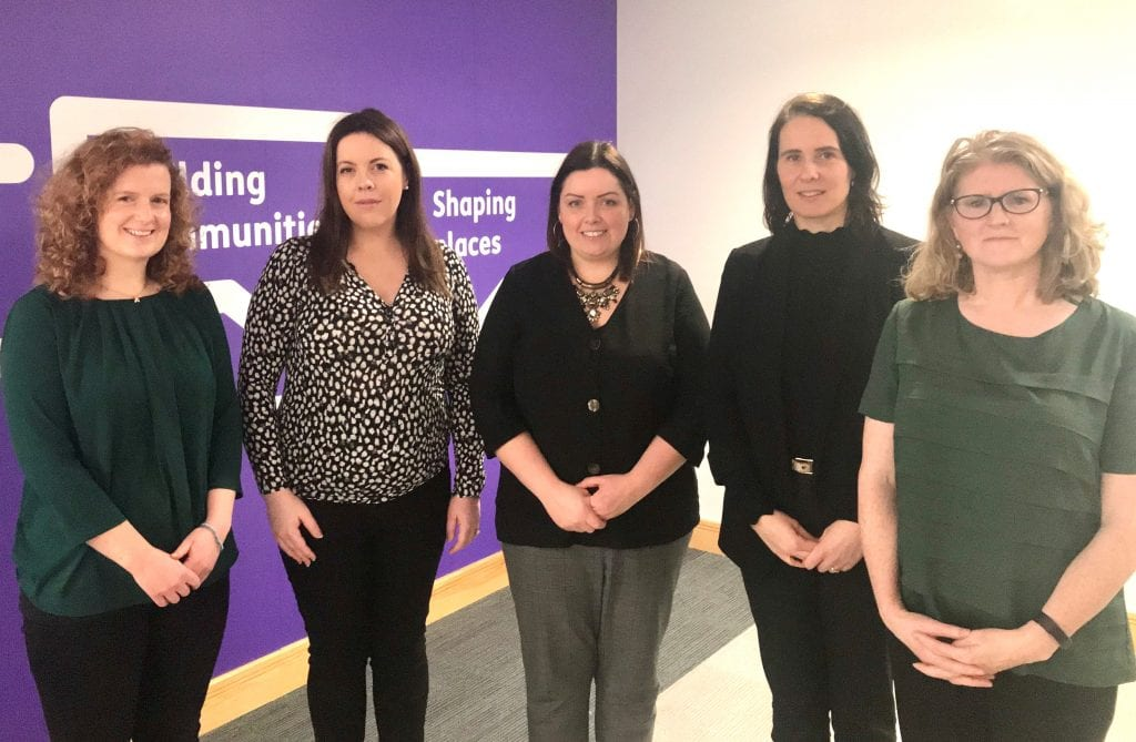 Members of the Cliff Edge NI coalitions with Communities Minister Deirdre Hargey