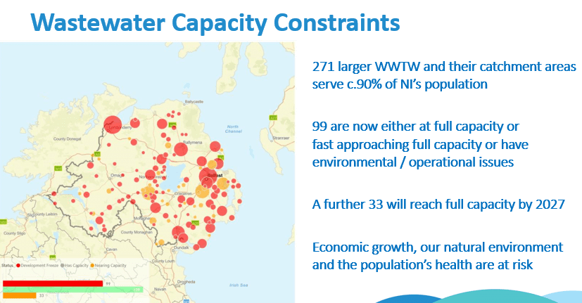 Map showing Waste Water Treatment Plants in NI and capacity status